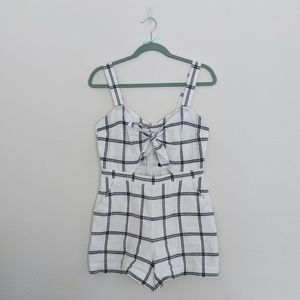 7720ba33e97 Abercrombie   Fitch Pants - Abercrombie   Fitch White Plaid Knot Front  Romper